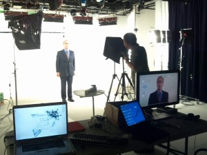 """BRAVE Publications videographer Patrick Morrissey filming Dr. Harvey Jacobs for """"Brain Injury: Voices of a Silent Epidemic"""""""
